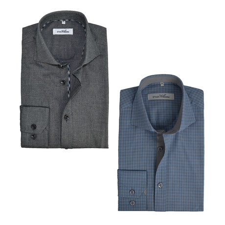 Semi Fitted Button Down Shirt // Sky Blue-Grey + Charcoal // 2-Pack (S)