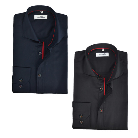 Semi Fitted Button Down Shirt // Black + Navy // 2-Pack (S)