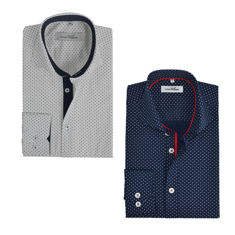 Semi Fitted Button Down Shirt // Navy + White Dots // 2-Pack (S)