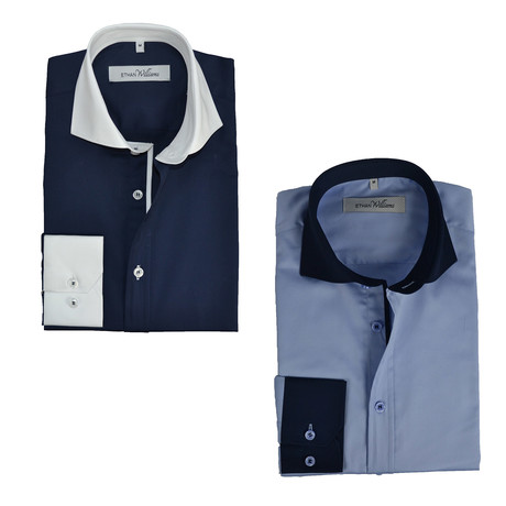 Semi Fitted Button Down Shirt // Navy + Light Blue Contrast Collar & Cuff // 2-Pack (S)