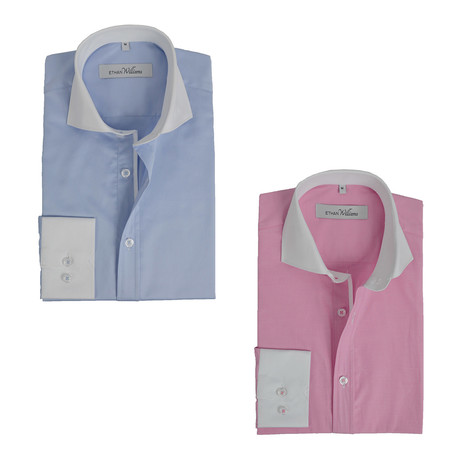 Semi Fitted Button Down Shirt // Light Blue + Pink Contrast Collar & Cuff // 2-Pack (S)