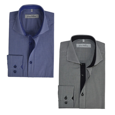Semi Fitted Button Down Shirt // Navy + Black Gingham // 2-Pack (S)