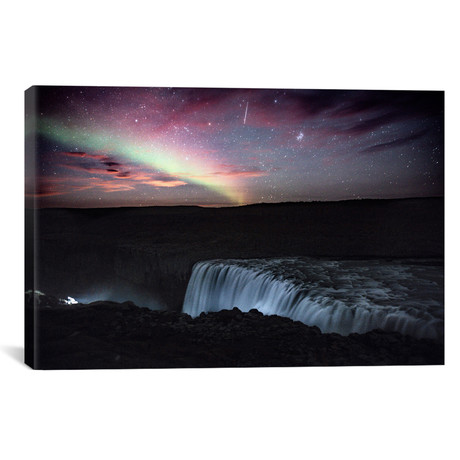 "Aurora Borealis, Shooting Star, Rising Moon (18""W x 26""H x 0.75""D)"