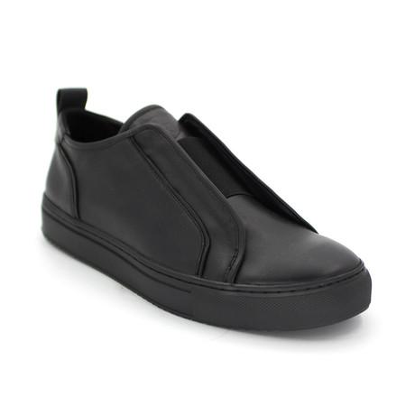 Fly Leather Stepper Slip-On // Black