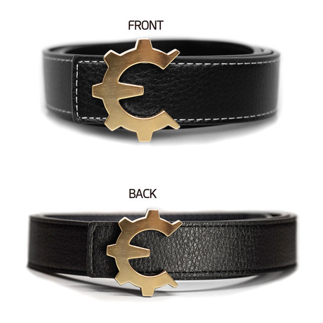 Brushed Gold Genii Belt // Black (30)