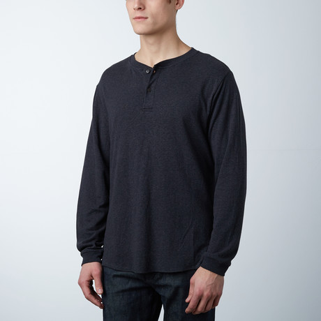 Cotton Blend Stretch Henley // Black