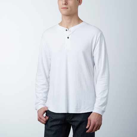 Cotton Blend Stretch Henley // White