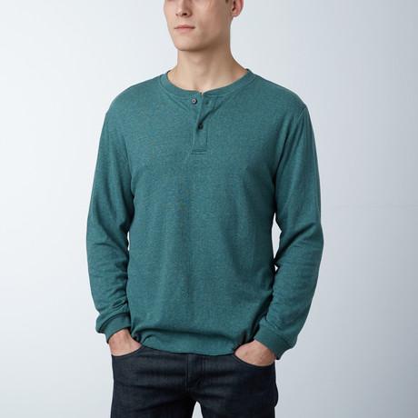 Cotton Blend Stretch Henley // Green Heather (S)