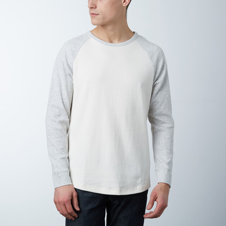 Textured Mesh Crewneck Sweatshirt // Cream/Heather Grey (S)