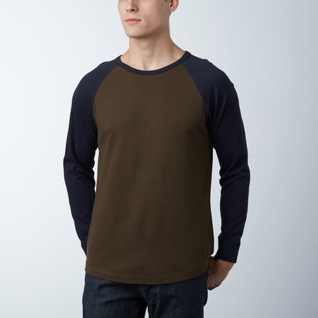 Textured Mesh Crewneck Sweatshirt // Army Green/Navy (S)