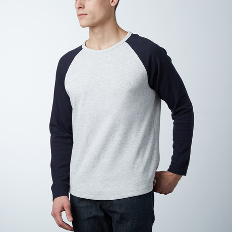Textured Mesh Crewneck Sweatshirt // Heather Grey/Navy (S)