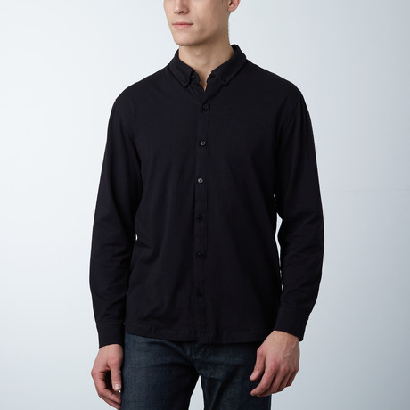 Stretch Button Front Shirt // Black (S)