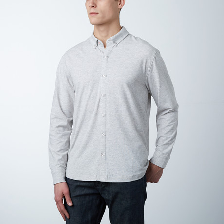 Stretch Button Front Shirt // Heather Grey (S)