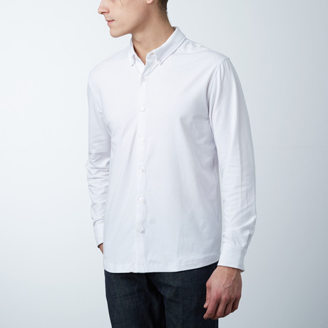 Stretch Button Front Shirt // White (S)