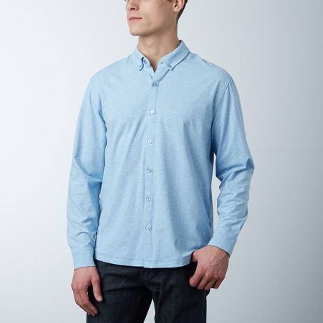 Stretch Button Front Shirt // Heather Blue (S)