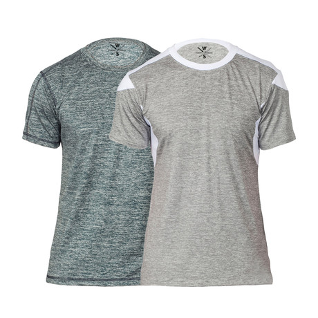 Gamer Fitness Tech T-Shirt // Marled Blue + Grey // Pack of 2