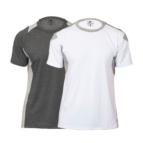 Builder Fitness Tech T-Shirt // Charcoal + White // Pack of 2 (XS)
