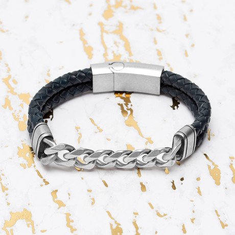 Steve Madden // Curb Chain Leather Braided Bracelet