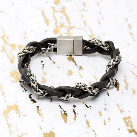 Steve Madden // Braided Leather + Wheat Chain Bracelet