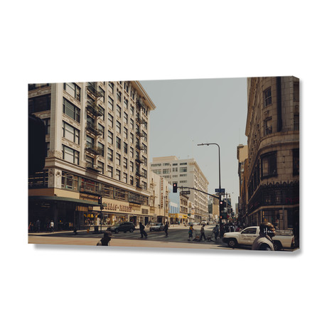 "Downtown LA III // Stretched Canvas (24""W x 16""H x 1.5""D)"