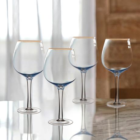 Vivienne Blue + Gold Red Wine Goblets // Set of 4