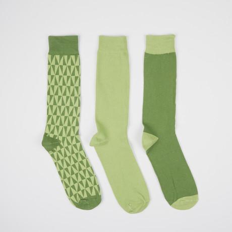 Green Kaleidotones Crew Socks // 3 Pairs
