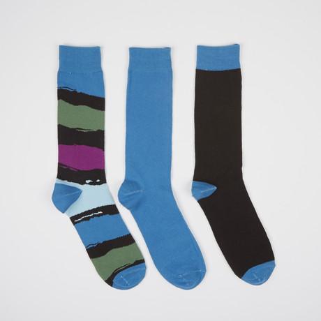 Brown Paint Block Crew Socks // 3 Pairs