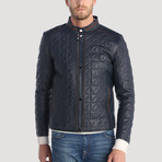 Balmy Leather Jacket // Navy (L)