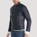 Balmy Leather Jacket // Navy (S)