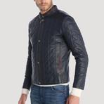 Balmy Leather Jacket // Navy (M)