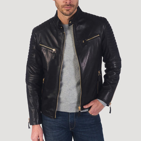 Geary Leather Jacket // Black + Gold (XS)