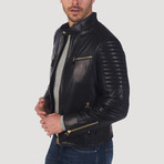 Geary Leather Jacket // Black + Gold (L)