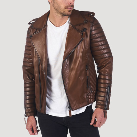 Junipero Leather Jacket // Light Brown