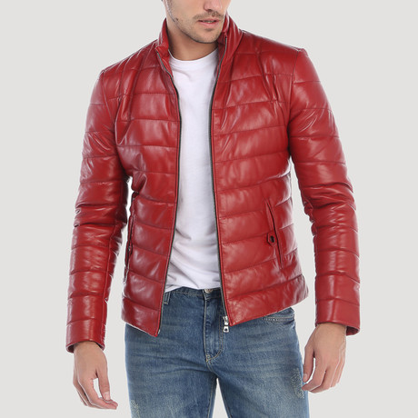 Broadway Leather Jacket // Red (S)