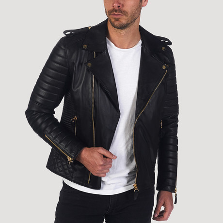 Mission Leather Jacket // Black + Gold (XS)