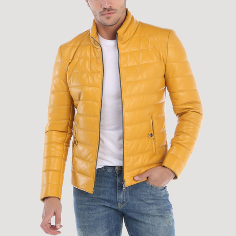 Jackson Leather Jacket // Yellow