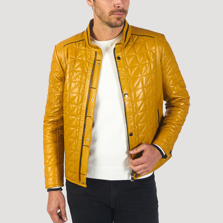 Lane Leather Jacket // Yellow (XS)