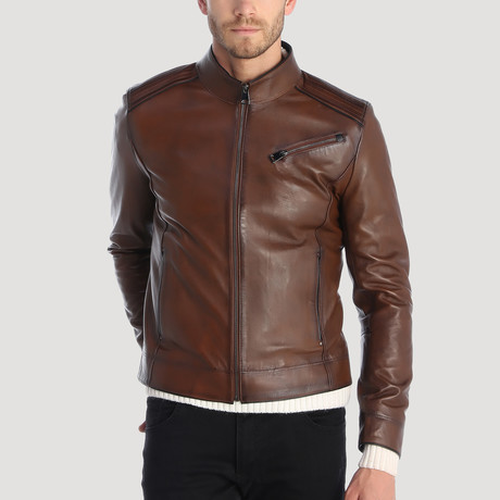 Boulevard Leather Jacket // Chestnut (XS)