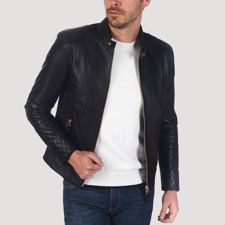 Post Leather Jacket // Black + Gold (XS)