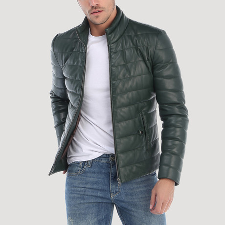 Alemany Leather Jacket // Green (S)