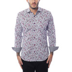 Cell Phone Print Long-Sleeve Button-Up // Purple + White (XL)