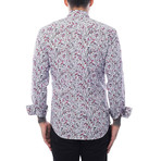 Cell Phone Print Long-Sleeve Button-Up // Purple + White (2XL)