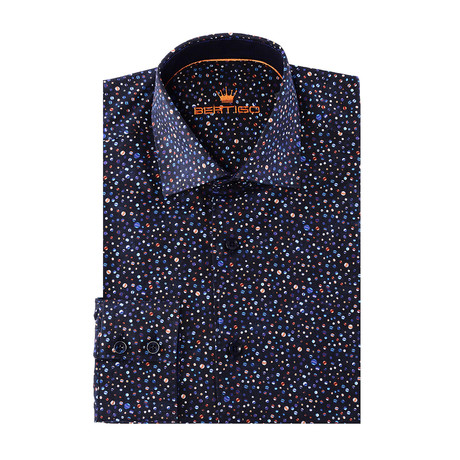 Paco Button-Up // Striped Circle Print // Navy Multicolor
