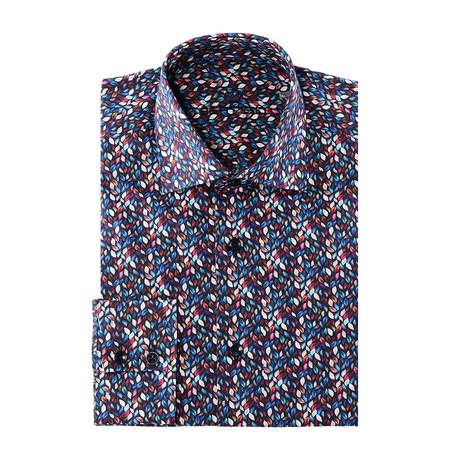 Peter Button-Up // Petal Print // Blue + Red Multicolor (2XL)