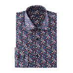 Peter Petal Print Long-Sleeve Button-Up // Blue + Red Multicolor (2XL)