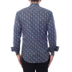 Peter Petal Print Long-Sleeve Button-Up // Blue + Red Multicolor (M)