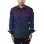 Gradient Multicolor Jacquard Long-Sleeve Button-Up // Navy Blue (XS)