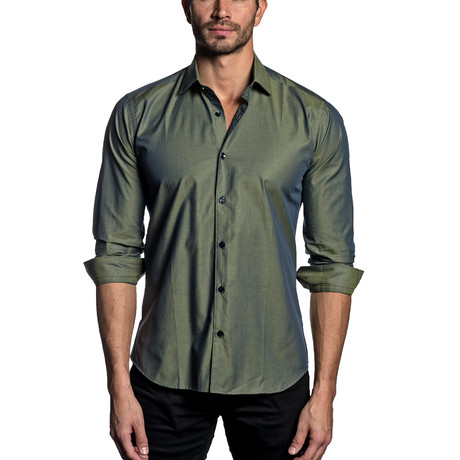 Woven Button-Up // Green (S)