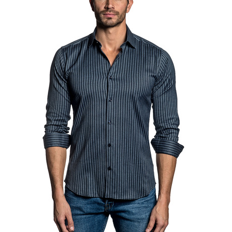 Woven Button-Up // Navy Stripe (S)