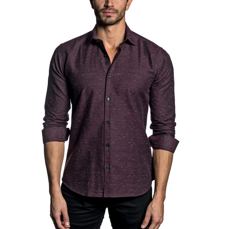 Woven Button-Up // BURGUNDY (S)